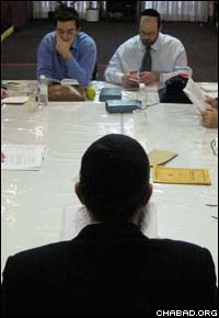 Rabbi Ronnie Fine presides over the daily Tanya class at Chabad Queen Mary in Montreal.
