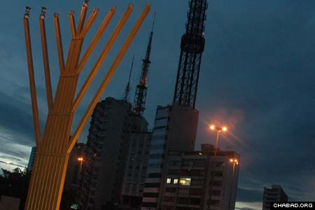 Chabad-Lubavitch of Brazil's menorah on the central Avenida Paulista in S. Paulo is visible to tens of thousands of commuters every day. Tens of millions of people tuned in to the menorah's nationally televised lighting on Dec. 6.