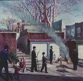 """Burning the Chametz on Carrol Street"" by chassidic artist Zalman Kleinman"
