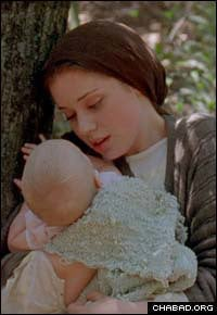 The character Anya clutches baby Miriam in the flight from Czarist Russia.