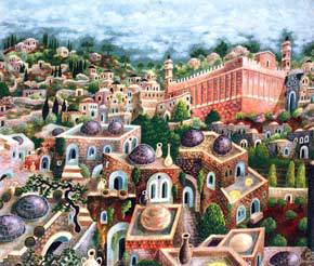 """Hebron, City of the Patriarchs"" acrylic on canvas by Baruch Nachshon"