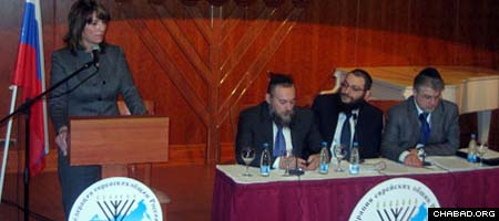 A panel of community leaders participate in a question-and-answer session at the fourth Congress of the Federation of Jewish Communities of the Former Soviet Union.