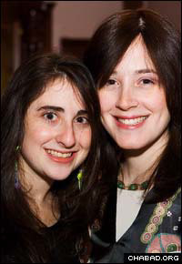 Chanie Chein, right, co-director of the Chabad-Lubavitch Jewish Student Center at Brandeis University, and one of her student leaders
