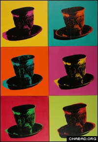 Rabbi Yitzchok Moulley's silkscreen technique echoes the work of iconic artist Andy Warhol. The Chabad-Lubavitch rabbi, though, prefers the use of Jewish items over Warhol's choice of soup cans and models.