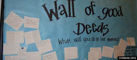 At the urging of Chabad-Lubavitch Rabbi Zalman Bluming, students at the University of North Carolina at Chapel Hill pledged to do good deeds in memory of slain student Eve Carson. They tacked their resolutions on a wall. (Photo: NC Hillel)