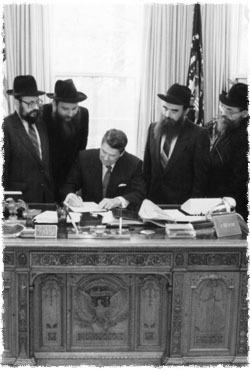 President Ronald Reagan signs the proclamation for Educational Day U.S.A. on April 9, 1987, commemorating the Rebbe, Rabbi Menachem Mendel Schneerson, of righteous memory's, birthday. (Photo: The White House)