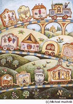 """The Mitzvah Train"" by chassidic artist Michoel Muchnik"