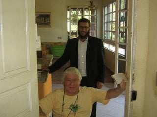 Gilberto and me next to his new Mezuzah