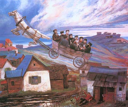 Chassidim traveling to their Rebbe - a painting by Chassidic artist Zalman Kleinman