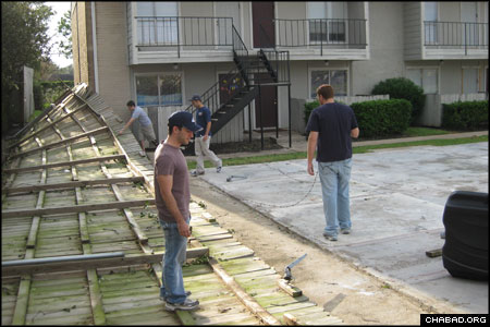 Jewish students from Texas A&M University survey the damage wrought by Hurricane Ike at the Chabad-Lubavitch regional headquarters in Houston.