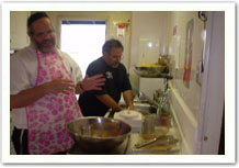 Rabbi E. Cooking in His Apron