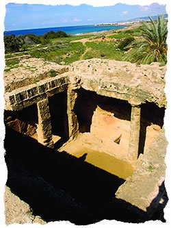 "Erroneously called the ""tombs of the kings,"" these Cypriot burial sites date back to the time of Alexander the Great, Paphos, Cyprus."