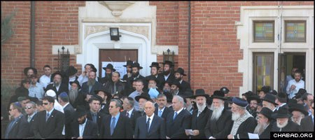 A memorial ceremony for Rabbi Gavriel and Rivka Holtzberg took place Tuesday afternoon in Kfar Chabad, Israel. (Photo: Tamar Runyan)