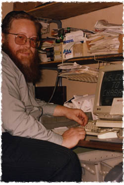 YY Kazen at his computer in the office of the Lubavitch Yeshivah