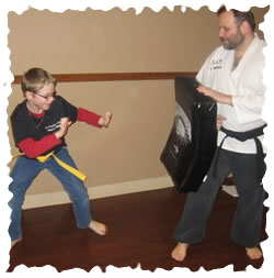 Martial arts. Ben Finstein and Volunteer Ethan Gross