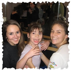 Ballet practice. Volunteer Nicole Jackson, Chloe Grossbard, and Volunteer Dena Berlin