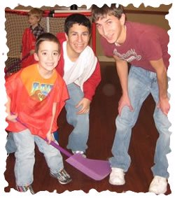 Junior Sports. Christopher Gargiul with Volunteers Max Klar and Mike Hyman