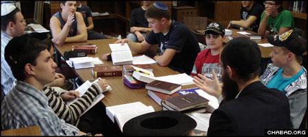 Students at Tora Kolleg, a Chabad-Lubavitch yeshiva in Berlin, study Chasidic thought. (File photo)