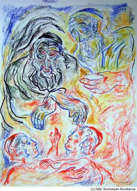 """Jacob Blesses Joseph's Children"" by Shoshannah Brombacher; pastel and ink on paper , 16 X 12 inches, New York, 2008"