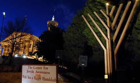 The Menorah with the Capitol of Tennessee in the background