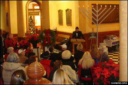 Many gathered for the first-ever Chanukah menorah lighting at the Wyoming State Capitol.