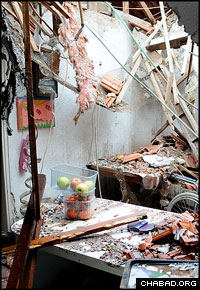A Palestinian rocket tore through a home in Sderot, Israel, last week.