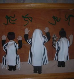 A clay art depicting the Western Wall that Mrs. Pollack crafted and presented a few years ago to her children, grandchildren and friends