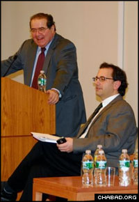 Supreme Court Justice Antonin Scalia, left, and Future of Privacy Forum director Jules Polonetsky participate in a forum on privacy rights. (Photo: Yosef Lewis)
