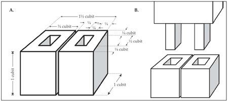 Figure 22: The bases and the tenons: A. The bases; B. How the tenons fit into the bases.