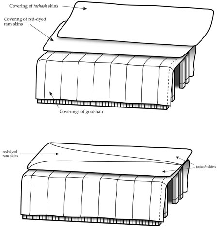 Figure 20a-b: The roof of red rams' skins and tachash skins - first opinion (top) and second opinion (bottom).