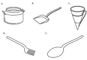 Figure 38: The utensils of the Altar: A. pot; B. scoop; C. Basin; D. fork; E. fire pan.