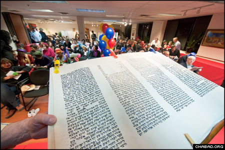 An overflowing crowd attended the Purim events at Chabad-Lubavitch of Westmount on the Island of Montreal.