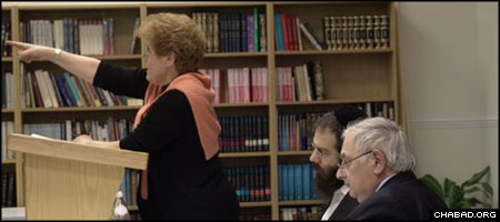 Holocaust historian Deborah Lipstadt lectures at the Oxford Chabad Society's Samson Judaica Library, which is expanding its holdings of more than 3,000 volumes.