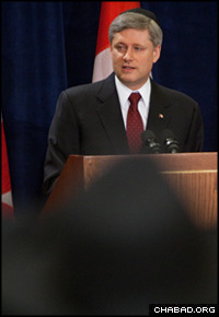 Just weeks before attending the dedication of the new Ernest Manson Lubavitch Centre north of Toronto, Canadian Prime Minister Stephen Harper addressed a national convention of 100 Chabad-Lubavitch emissaries in Ottawa.