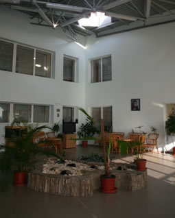 The old-age home's lobby