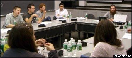 Rabbi Eitan Webb, director of Chabad on Campus at Princeton University, leads a Sinai Scholars class.