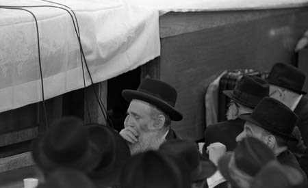 An elderly Chassidic Jew sits and meditates while he awaits the farbrengen. © 2009 JERRY DANTZIC ARCHIVES, All Rights Reserved