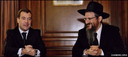 Russian President Dmitry Medvedev held a meeting with Chief Rabbi Berel Lazar over the scheduling of national exams to coincide with the holiday of Shavuot.