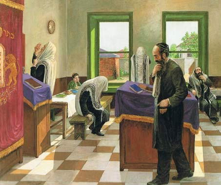 Chaasidim Praying on Shabbat Afternoon - a painting by chassidic artist Zalman Kleinman