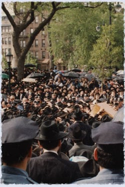 A view from the balcony where I was standing as the Rebbe's casket is placed in the hearse on the way to the burial site in Cambria Heights.