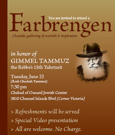 Farbrengen Evening of Warmth & Inspiration