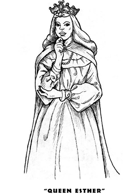 Queen Esther Purim Coloring Pages