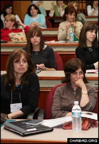Women emissaries attend a session at a previous Chabad on Campus International Conference.