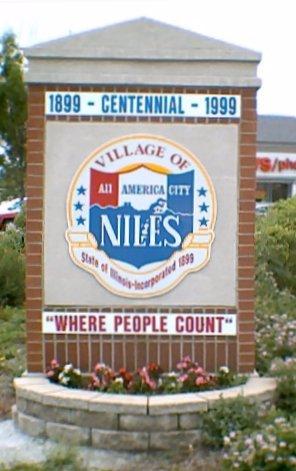 שלט בכניסה לעיר ניילס שבאילינוי