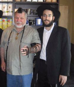 Wearing tefillin for the first time in his life