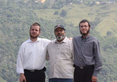 We climbed up on his roof overlooking a valley and took this picture together.