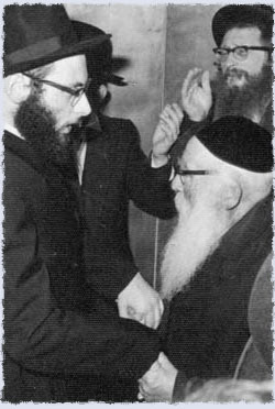 Elchanan Yakabovitch with his grandfather Rabbi Aryeh Levin. Rabbi Levin asked him to ask the Rebbe whether he should publish his writings.