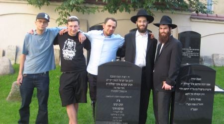 At the newly restored grave of Rabbi Akiva Eger.