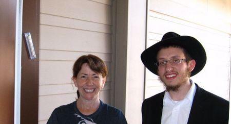 Daniel, Gail and her new mezuzah.
