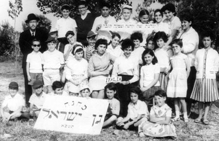 A group picture of the Chabad camp in Milan, Italy, 1961. Basya Garelik is the fourth from the left on the second row from the bottom.